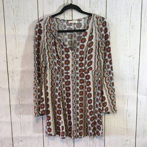 Love Fire Long Sleeve Patterned Peasant Dress